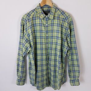 Banana Republic L Shirt L/S Blue Lt Green Woven